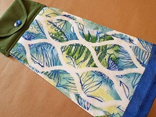 Modern Foliage Hanging Button Top Oven Door Dish Towel Blue Green Kitchen Linens Leaves Ferns Grass Floral Handmade Housewarming Hostess Gift Under ()