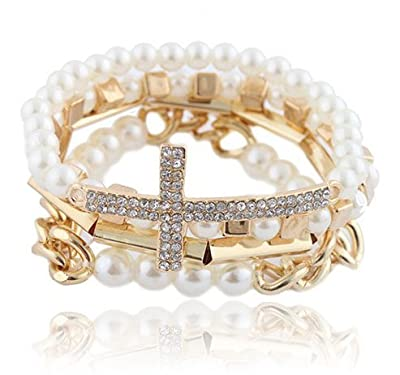 Cream with Goldtone 4 Piece Bundle of Iced Out Cross, Link & Bar Chain Beaded Stretch Bracelet (S-1922)