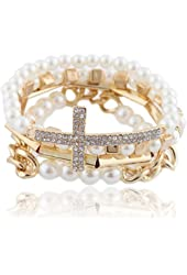 Ivory with Goldtone 4 Piece Bundle of Iced Out Cross, Link & Bar Chain Beaded Stretch Bracelet