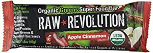 Raw Revolution Organic Greens Super Food Bar, Apple Cinnamon, 1.6 Ounce (Pack of 12)