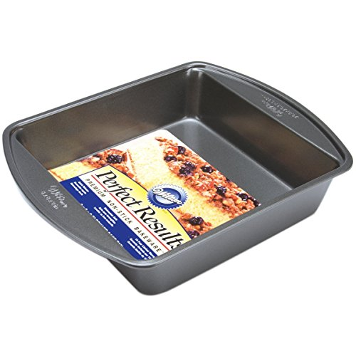 Wilton Perfect Results Premium Non-Stick Bakeware Square Cake Pan, Will Heat Evenly for Years of Quality Baking, 8-inches ()