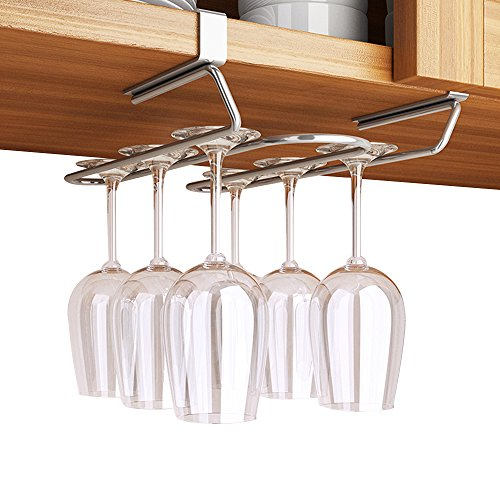 GeLive Under Cabinet Wine Glass Hanger Rack, Stemware Drying Holder for Bar, Kitchen, Stainless Steel, Needn't Drilling Screw by GeLive