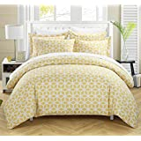 Chic Home 3-Piece Elizabeth Geometric Diamond Printed Reversible Duvet Cover Set, King, Yellow