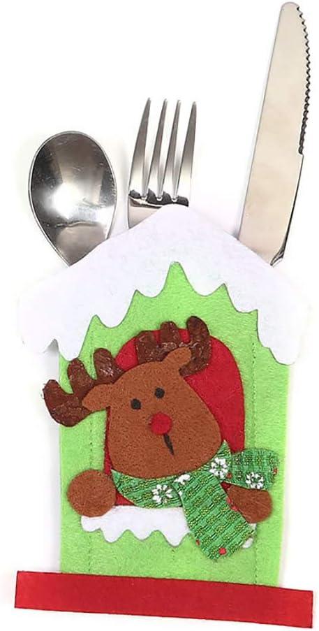 AchidistviQ - Juego de Cubiertos de Navidad con diseño de Papá Noel y muñeco de Nieve, para decoración de Mesa, Navidad, Navidad, Tela, Elk#: Amazon.es: Hogar