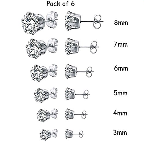 Round Pierced Basket (Freedi Womens Stainless Steel Stud Earring Pierced Cubic Zirconia 6Paris,3mm-8mm)