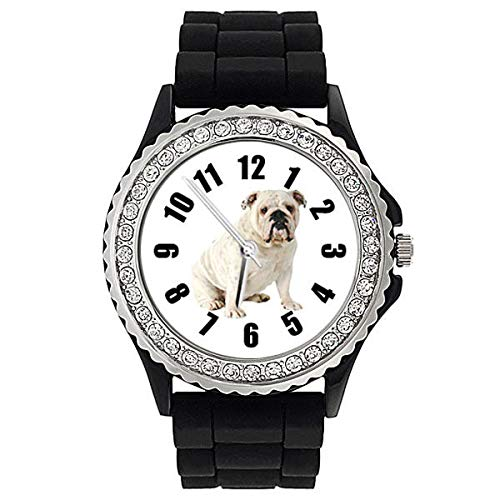 FidgetGear Bulldog Crystal Rhinestone Mens Ladies Jelly Silicone Strap Wrist Watch SG189P