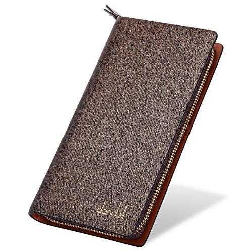 - DANDELI New Vintage Genuine Leather Mens Long Wallet RFID Blocking Money Clip Protective Credit Card Holder with Zipper Pocket