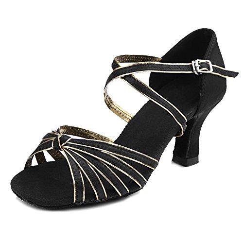 Womens 7 Latin Roymall Shoes WZJCL Black Performance Tango 8 5 Ballroom US Dance Model Shoes M Satin Salsa B Gold 6dxdwS