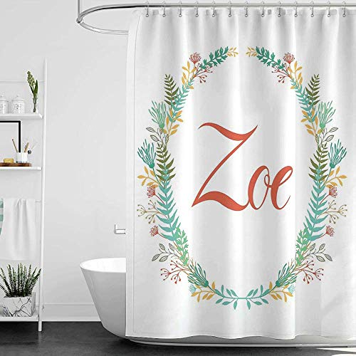 homecoco Shower Curtains Grey and Teal Zoe,Blossoming Nature Design Foliage Leaves Silhouette Baby Girl Name Arrangement Wreath,Multicolor W72 x L72,Shower Curtain for Bathroom (Best Arabic Names For Girl Baby)