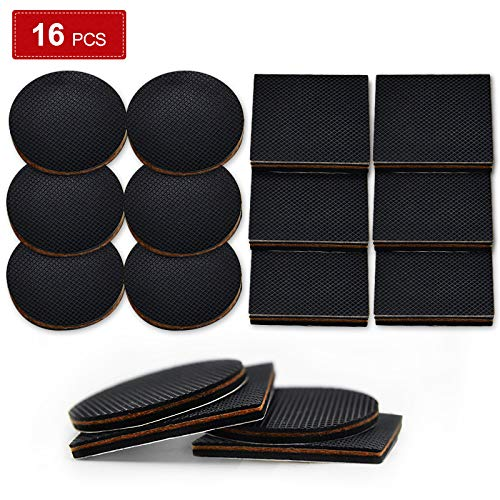 Tenozek 16 pcs Non Slip Furniture Pads Furniture Grippers Rubber Feet Couch Stoppers Self Adhesive Rubber Feet Non Skid for Furniture Legs - Ideal Floor Protectors for Recliner, Bed,Couch, Sofa, Chair