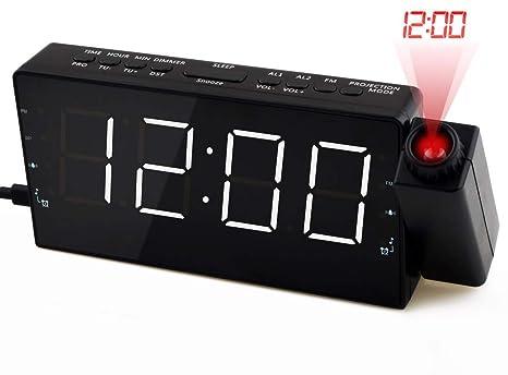"""HaoYaa 7"""" Despertador Proyector con Radio FM de Doble Alarma, Techo/ Reloj de"""