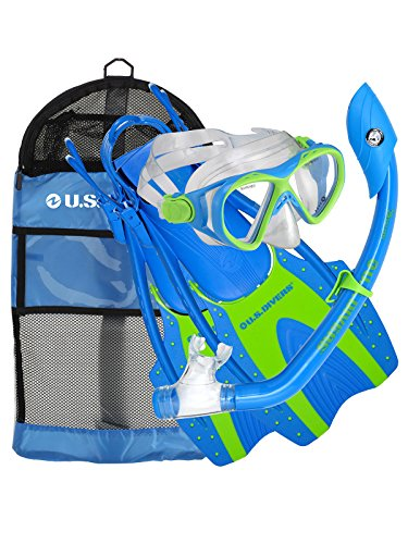 U.S. Divers Youth Buzz Junior Snorkeling Set, Blue Neon - Large