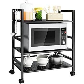 LANGRIA 3 Tier Mesh Wire Rolling Kitchen Cart, Microwave Stand, Storage Cart  Multifunction