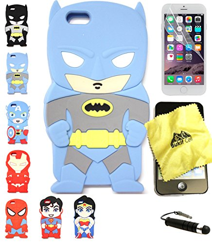 Bukit Cell 3D Superhero Case Bundle 4 Items: Batman Blue Cute Justice League Cartoon Soft Silicone Case for 4.7 Inch Iphone 6s / 6 , Cleaning Cloth + Screen Protector + Metallic Stylus Pen