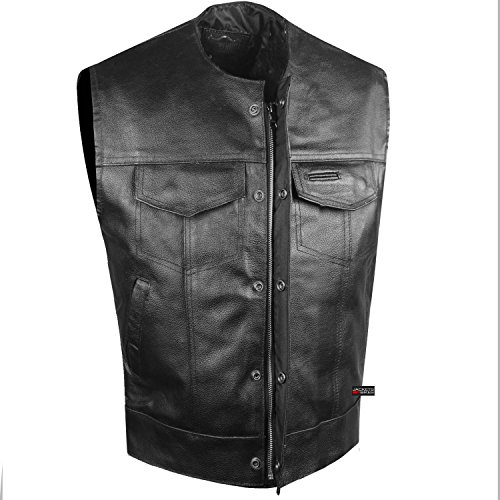 Cowhide Leather Vest (SOA Collarless Leather Vest Anarchy Motorcycle Biker Concealed Carry Black XL)