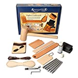 Realeather Basic Leather Craft Starter Kit - Basic Tools and Leather to Make a Key Fob, Bag Tag, Wristband, Cell Phone and Card Sleeve