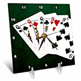 3dRose Alexis Photo-Art - Poker Hands - Poker Hands Full House Queen Nine - 6x6 Desk Clock (dc_270309_1)