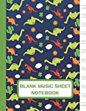 Blank Music Sheet Notebook: Large Music Manuscript Paper Journal WIth Dinosaur Cactus Sun And Cloud Pattern Design, Staff Paper, Music Composition And Songwriting Notebook