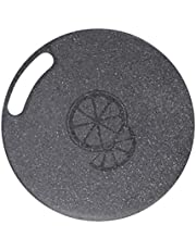 Cabilock Kitchen Cutting Board Round Plastic Chopping Block Hangable Fruit Vegetables Cutting Board with Handles for Home Restaurant Pub 31x0.5cm