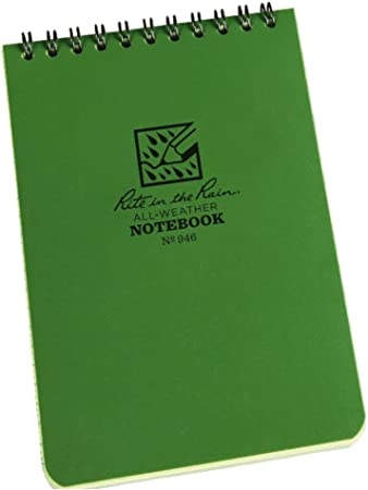 Rite In The Rain Waterproof Paper Universal Pocket Top Wire Bound Spiral Notebook Green 100 Pages 50 Sheets Imperial Metric Ruler 3 X 5 Inch Amazon Co Uk Sports Outdoors