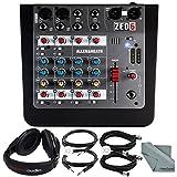 Allen & Heath ZED-6 6-Input Compact Analog Mixer and Accessory Bundle w/ Over-Ear Headphones, 5X Cables, Fibertique Cloth