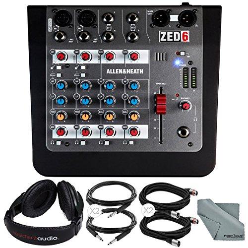 Allen & Heath ZED-6 6-Input Compact Analog Mixer and Accessory Bundle w/ Over-Ear Headphones, 5X Cables, Fibertique Cloth by Photo Savings