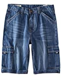 Yeokou Men's Loose Hip Hop Cropped Jeans Work Denim Shorts with Cargo Pockets (40, Style12 Light Blue)