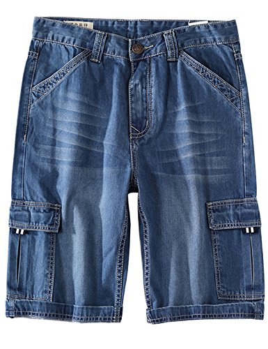 Yeokou Men's Loose Hip Hop Cropped Jeans Work Denim Shorts with Cargo Pockets (38, Style12 Light Blue) ()