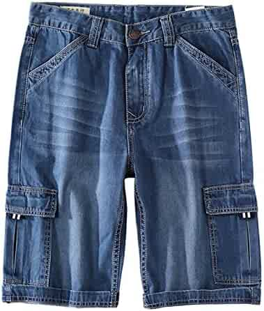 7d15c091492 Yeokou Big and Tall Men s Loose Straight Multi Pockets Denim Jean Cargo  Shorts