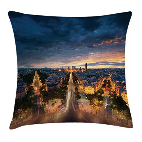 Paris Throw Pillow Cushion Cover by Lunarable, Paris Street View Avenue Boulevard Panoramic Dramatic Night Sky, Decorative Square Accent Pillow Case, 40 X 40 Inches, Navy Blue Marigold Dark - Avenue Cafe De Paris L