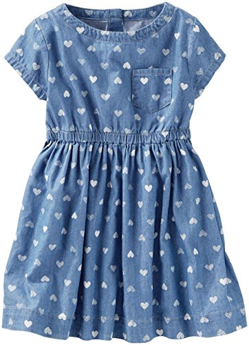 Oshkosh Kids Dress (OshKosh B'Gosh Girls' Woven Dress 22000610, Denim, 3T Toddler)