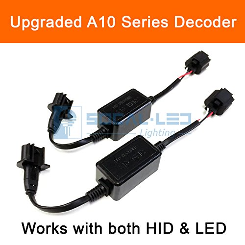 SOCAL-LED 2x A10 H13 9008 EMC Headlight Kit CANBUS HID LED Decoder Anti-Flicker Error Canceller Relay Resistor Adapter
