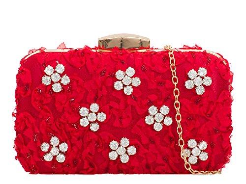 Ladies Daisy Diamante Box Clutch Bag - Women's Satin Evening Cocktail Handbag KTL2112 Red