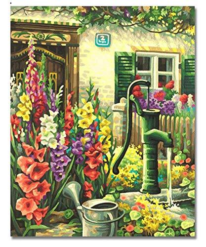 bienvenido a comprar Tworidc5-50x70cm Framed UPUPUPUP DIY DIY DIY Little Front Door Garden Pintura al óleo por número Pintado a Mano DIY Arte de la Lona Lienzo Inicio Kits para Colorar Acrílico, Tworidc5-50X70Cm Enmarcado  centro comercial de moda