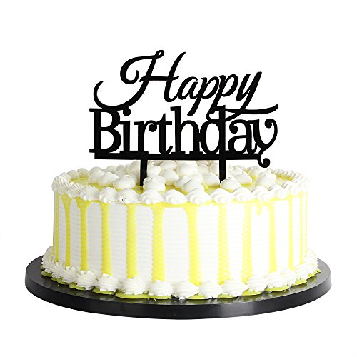 palasasa Happy Birthday Cake Toppers Monogram Black Silhouette Acrylic Party Decorations]()
