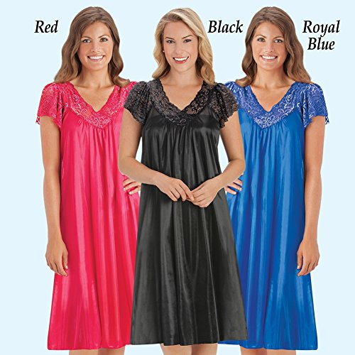 Collections Etc Women's Silky Lace Neckline Tricot Gown, Black, XX-Large by Collections Etc (Image #2)