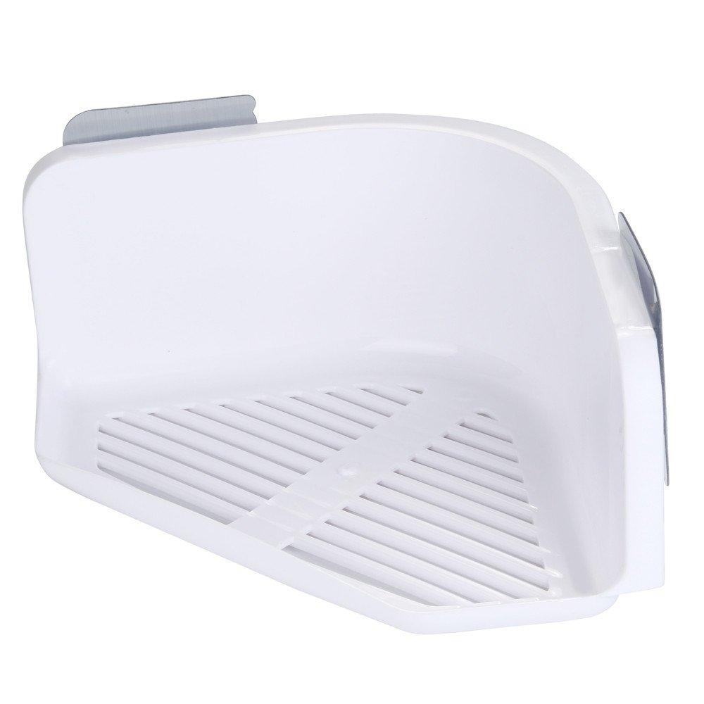 Dingji Shower Shelf, Plastic Punch-Free Triangle Rack Plastic Wash Storage Rack Suction Cup Bathroom Kitchen Corner (White)
