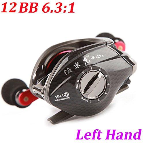 pylios ( TM )新しい。12bb左手餌鋳造釣りリール11ボールベアリング+一方向クラッチ低プロファイル鯉釣りリールキャスター   B01AW2CK3A