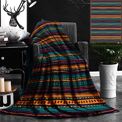 Nalagoo Unique Custom Flannel Blankets Tribal Striped Retro Aztec Pattern With Rich Mexican Ethnic Color Folkloric Print Dining Room Ki Super Soft Blanketry for Bed Couch, Twin Size 60