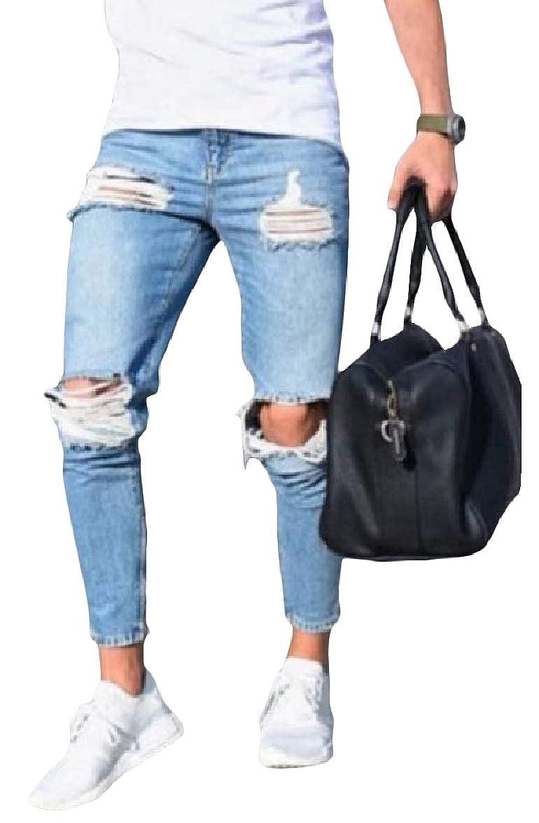 Abetteric Mens Plus Size Fashion Ripped Hole Mid Waist Trim-Fit Pure Colour Jean