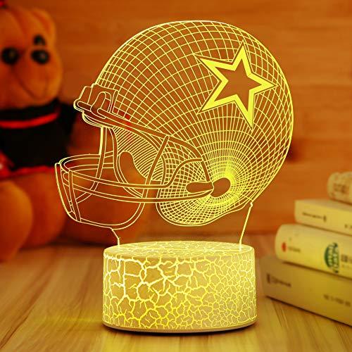 Dallas Cowboys Helmet Night Light 3D Illusion Lamp Football Helmet,Children's Day Best Gift,Football Fans Kids Bedroom Decor Bedside Lamp,7 Colors Change LED Lamps,Smart Touch USB,Birthday Gift ()