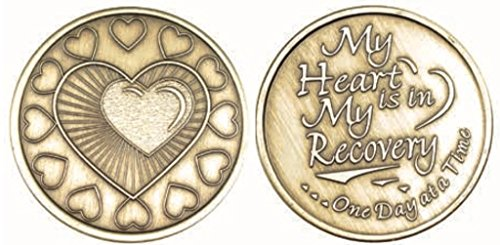 My Heart Is In Recovery Bulk Lot of 25 Medallions Bronze One Day At A Time Chips