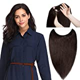 Hidden Invisible Crown Human Hair Extension One Piece Secret Miracle Wire in Hairpieces No Clip No Tape in Remy Hair Translucent Fish Line Headband 65g 18''/18inch #2 Dark Brown