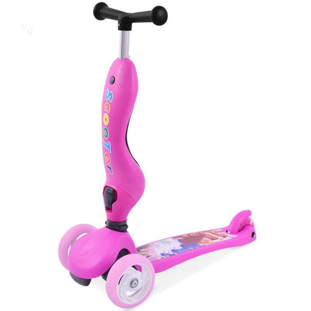 Children's scooter kick scooter children's kids 4 wheel scooter, 3 in 1 super wide wheel kids scooter with detachable seat, adjustable height handle, scooter children boys and girls 1 or more children