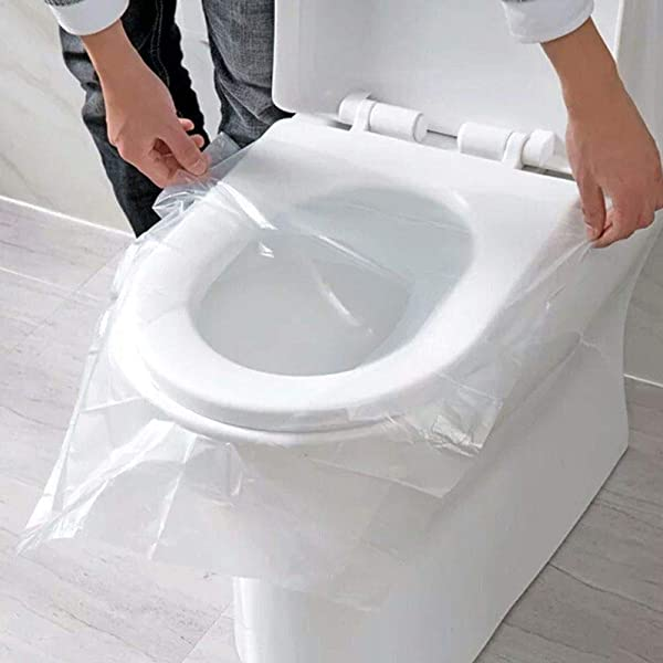 50 PCS Pocket Size Travel Disposable Toilet Seat Cover Potty Seat Cover Individually Wrapped Waterproof and Non Slip For Baby Pregnant Mom Potty Training,Public Toilets Portable Independent Packing