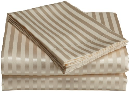Divatex Home Fashions Royal Opulence Woven Satin Stripe Queen Sheet Set, Ivory (Satin Sets Woven Sheet)