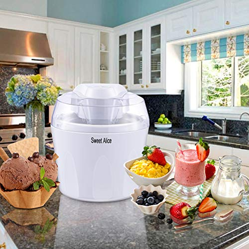 Ice Cream Maker, BPA-free 1.5L Ice Cream Machine Gelato Maker Frozen Yogurt Sorbet with Mixing Paddle and Auto Shut-off Timer
