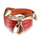 BABYEN Handmade Woman Wrap Bracelets Leather + Stainless Steel Lock Key Pendant Women Jewelry Accessories (Red)