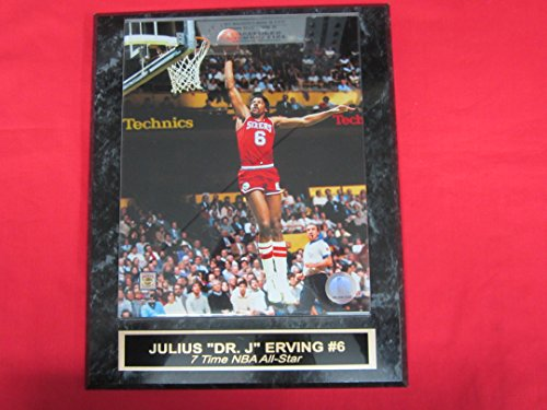 Julius Erving Dr J Philadelphia 76ers Engraved Collector Plaque #5 w/8x10 Photo - Julius Baseball
