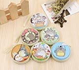 Thedmhom 6 Pcs 2018 New Cute Kawaii Animal Cartoon Anime Cat Waterproof Zippered Totoro Coin Purse Earphone Wire Data Wires Small Pouch Storage Bag Mini Wallet Adult Kids Birthday Novelty Gift